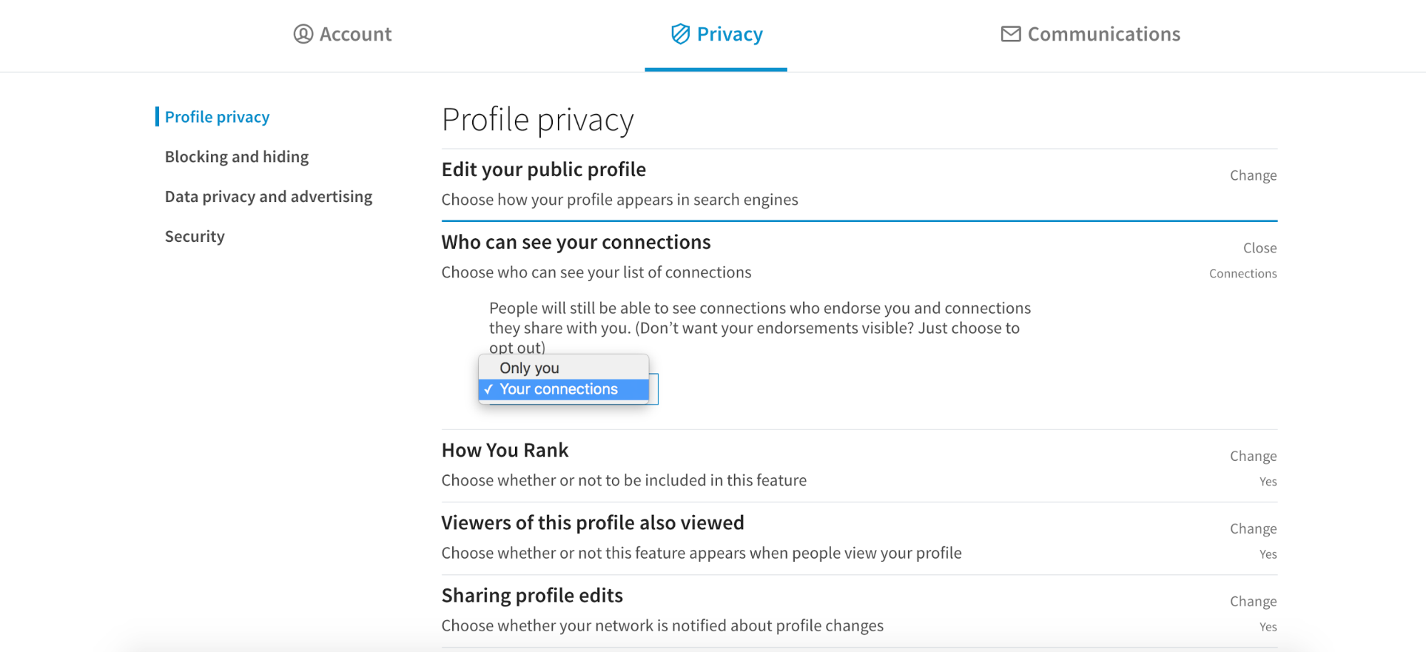 Who Can See Your Connections Linkedin Help